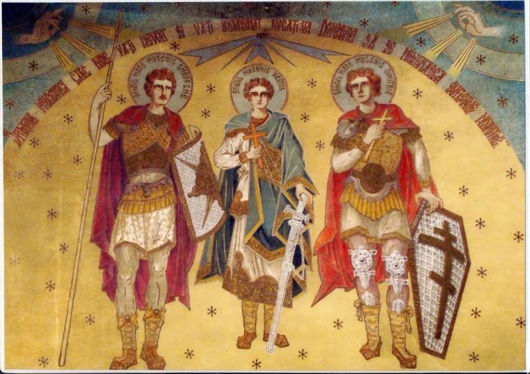 Sfintii-luptatori-Gheorghe-Dimitrie-si-Nestor-Fresca-a-Parintelui-Arsenie-Boca-la-Draganescu-1024x723